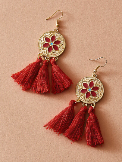 1pair Flower Decor Tassel Drop Earrings