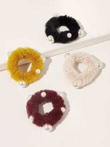 4pcs Faux Pearl Decor Fluffy Scrunchies
