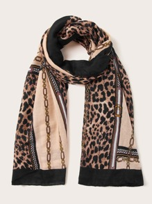 Leopard & Chain Graphic Scarf