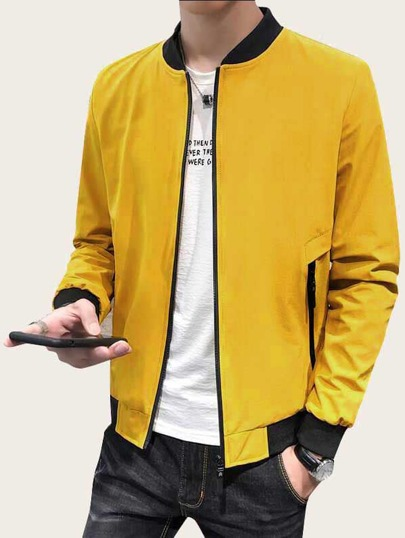 Guys Contrast Binding Zip Up Bomber Jacket