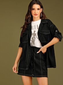 Contrast Topstitching Belted Flap Pocket Coat