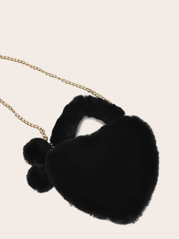 Pom Pom Decor Fluffy Heart Shaped Chain Bag, Black