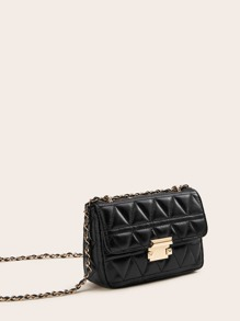Metal Lock Quilted Chain Bag