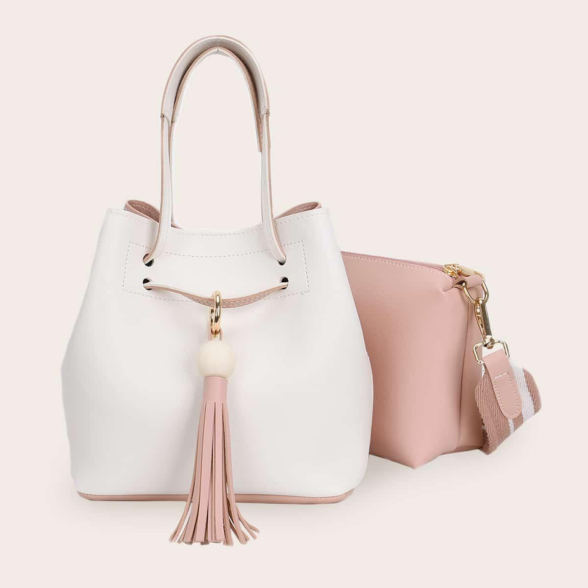 2pcs Tassel Decor Tote Bag With Crossbody Bag
