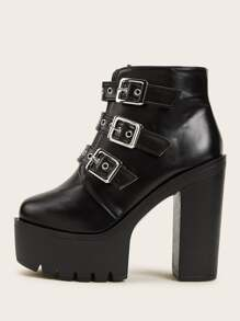 Buckle Lug Sole Chunky Heel Booties