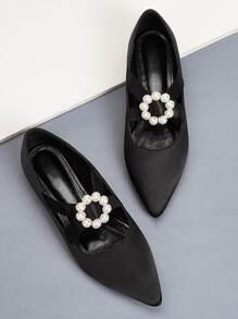Point Toe Faux Pearl Ballet Flats