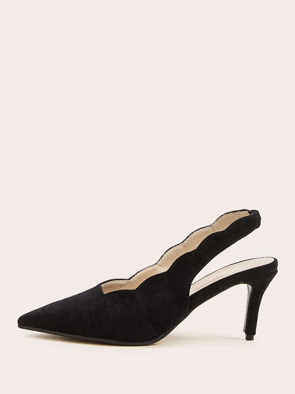 Point Toe Scalloped Trim Slingback Stiletto Heels, Black