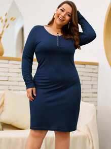 Plus Half Placket Solid Bodycon Dress