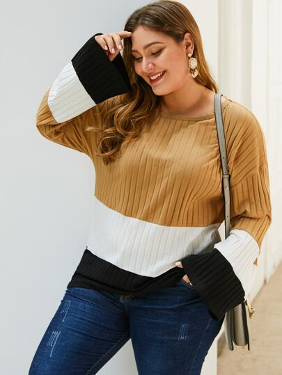 Plus Cut And Sew Ribbed Knit Sweater