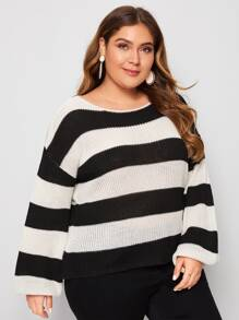 Plus Block Striped Drop Shoulder Sweater