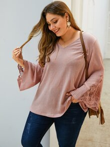 Plus Lace Panel Flounce Sleeve Solid Sweater