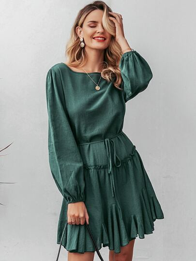 Simplee Bishop Sleeve Frill Trim Belted Godet Dress