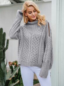 Simplee Cut-out Detail Cable Knit Jumper