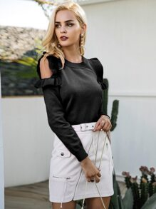 Simplee Ruffle Trim Cold Shoulder Sweater