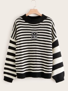 Plus Letter Patched Striped Sweater