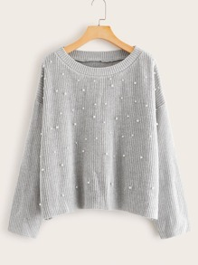 Pearls Beaded Ribbed Knit Jumper