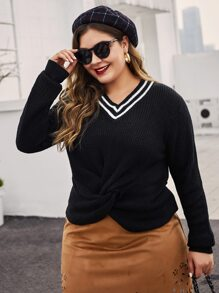 Plus Twist Front Cricket Sweater