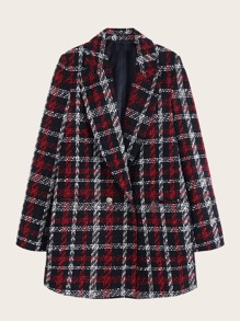 Button Front Plaid Tweed Blazer