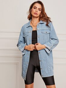 Washed Pocket Front Denim Coat