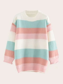 Drop Shoulder Striped Ribbed Sweater