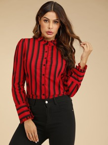 Lettuce Frill Striped Button Front Blouse
