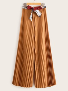 Pleated Wide Leg Chain Print Belted Pants