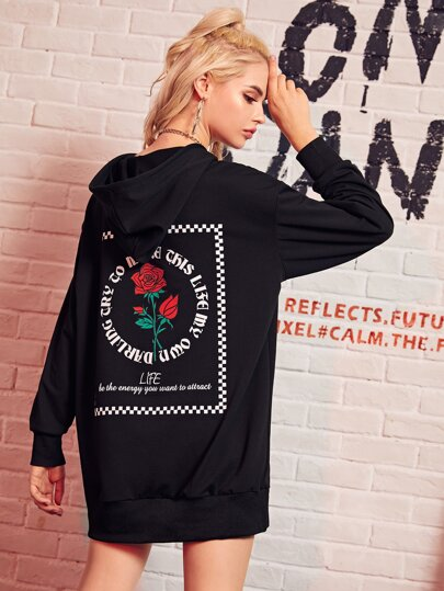 Rose & Letter Graphic Back Oversized Longline Hoodie