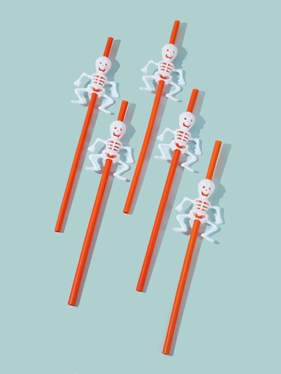 5pcs Skeleton Decor Plastic Straw