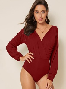 Solid Surplice Front Long Sleeve Bodysuit