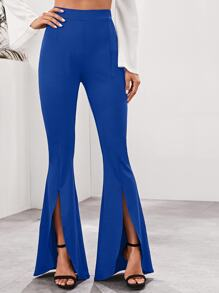 Solid Split Front Flare Leg Pants