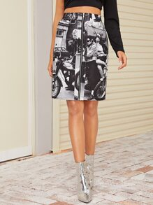 Zip Up Front Figure Graphic Skirt
