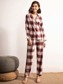 Plaid Button-up Pajama Set