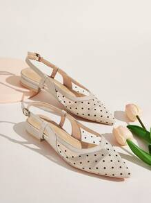 Point Toe Polka Dot Slingback Flats