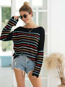 Colorful Striped Boat Neck Sweater