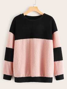 Color-Block Drop Shoulder Teddy Sweatshirt