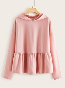 Solid Ruffle Hem Hooded Sweatshirt