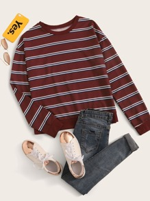 Stripe Print Drop Shoulder Sweatshirt