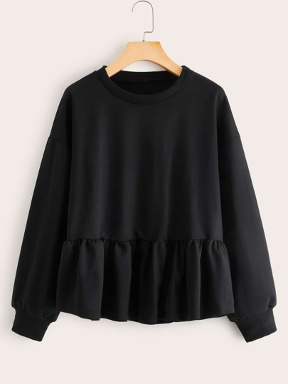 Solid Ruffle Hem Drop Shoulder Sweatshirt