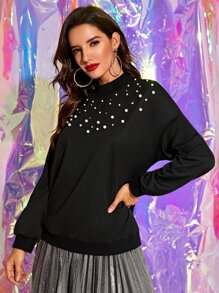 Pearls Beaded Mock Neck Sweatshirt