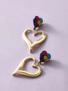1pair Color Block Heart Drop Earrings