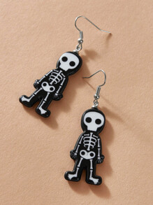 1pair Halloween Skull Drop Earrings