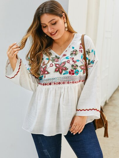 Plus Tribal Embroidery Peplum Blouse