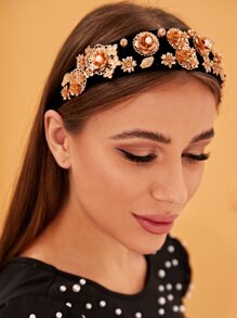 Faux Pearl & Metallic Flower Decor Headband