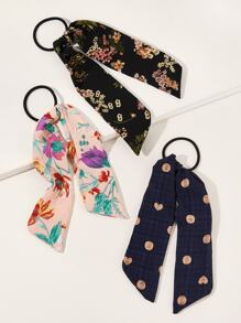 3pcs Floral Graphic Scrunchie Scarf