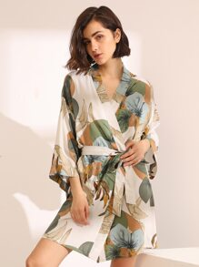 Leaf Print Robe With Belt