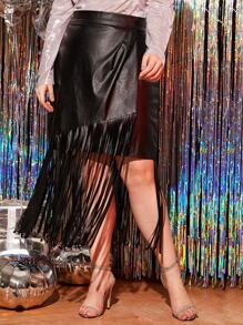 Plus Fringe Hem PU Leather Skirt