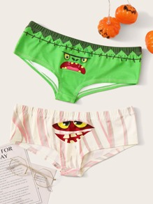 Halloween 2pack Face Print Panty Set