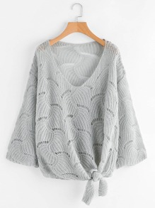 Plus Open Knit Knot Hem Sweater