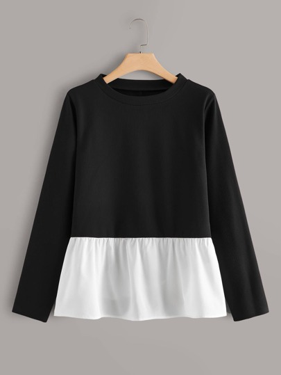 Plus Two Tone Ruffle Hem Sweater