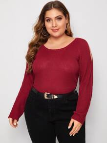 Plus Cut Out Raglan Sleeve Sweater